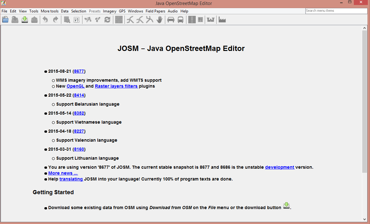 Chapter 4: Getting started with JOSM — documentation InaSAFE